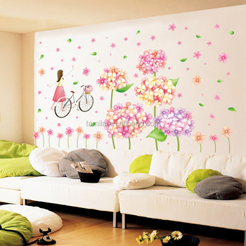 Hot Selling Big Size Flower Wall Sticker Plastic Flower Art Wallpaper Kids  Room Entrance Kitchen Wall
