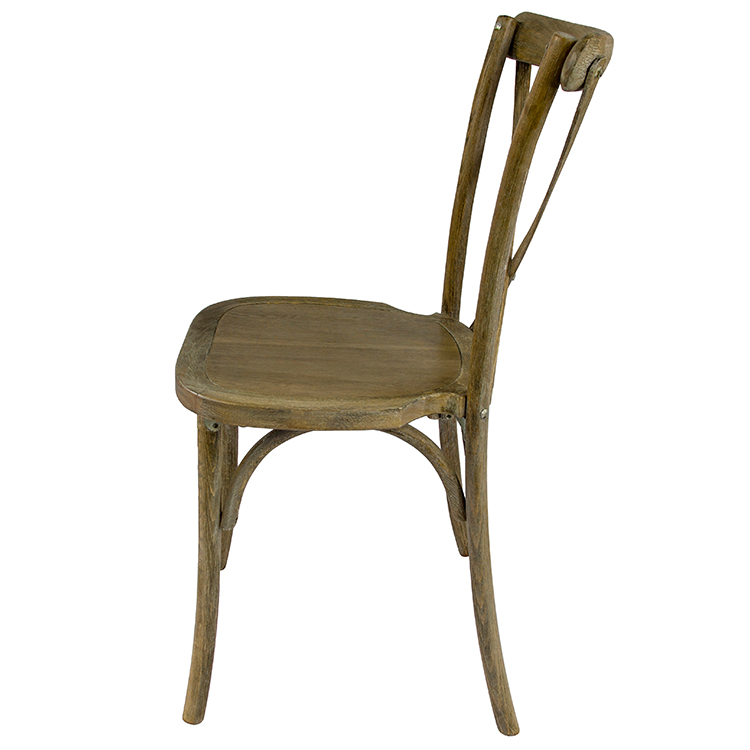 ZY00430 Wholesale French Style Rustic Solid Vintage Coffee Shop Restaurant Party wooden X Chair