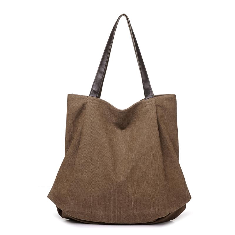 Ladies folding brown canvas tote bag leather handle shoulder shopping handbag for women