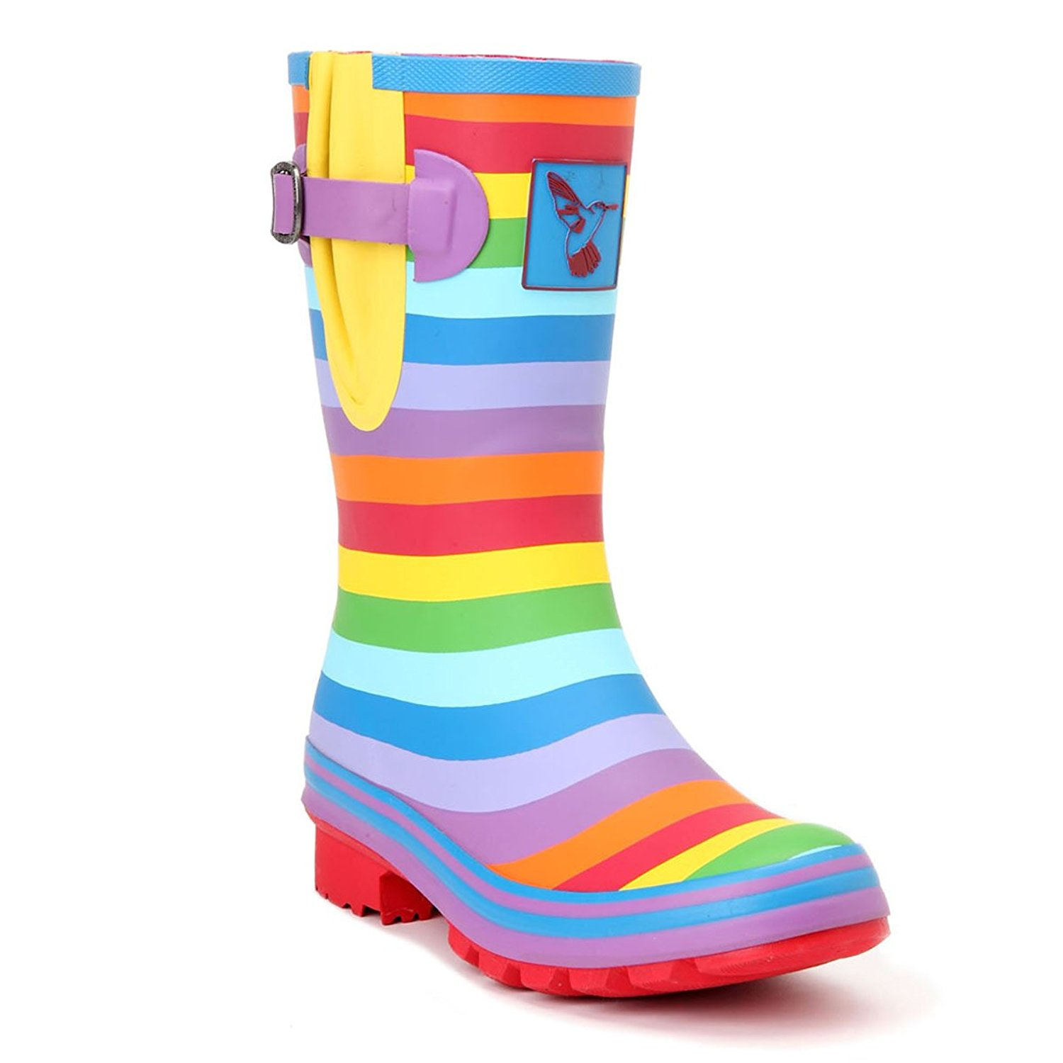 03166973ead Get Quotations · Evercreatures Women s Rain Boot Waterproof Mid-Calf Boots  Rainbow Stripes Cute Animal Print Polka Dot