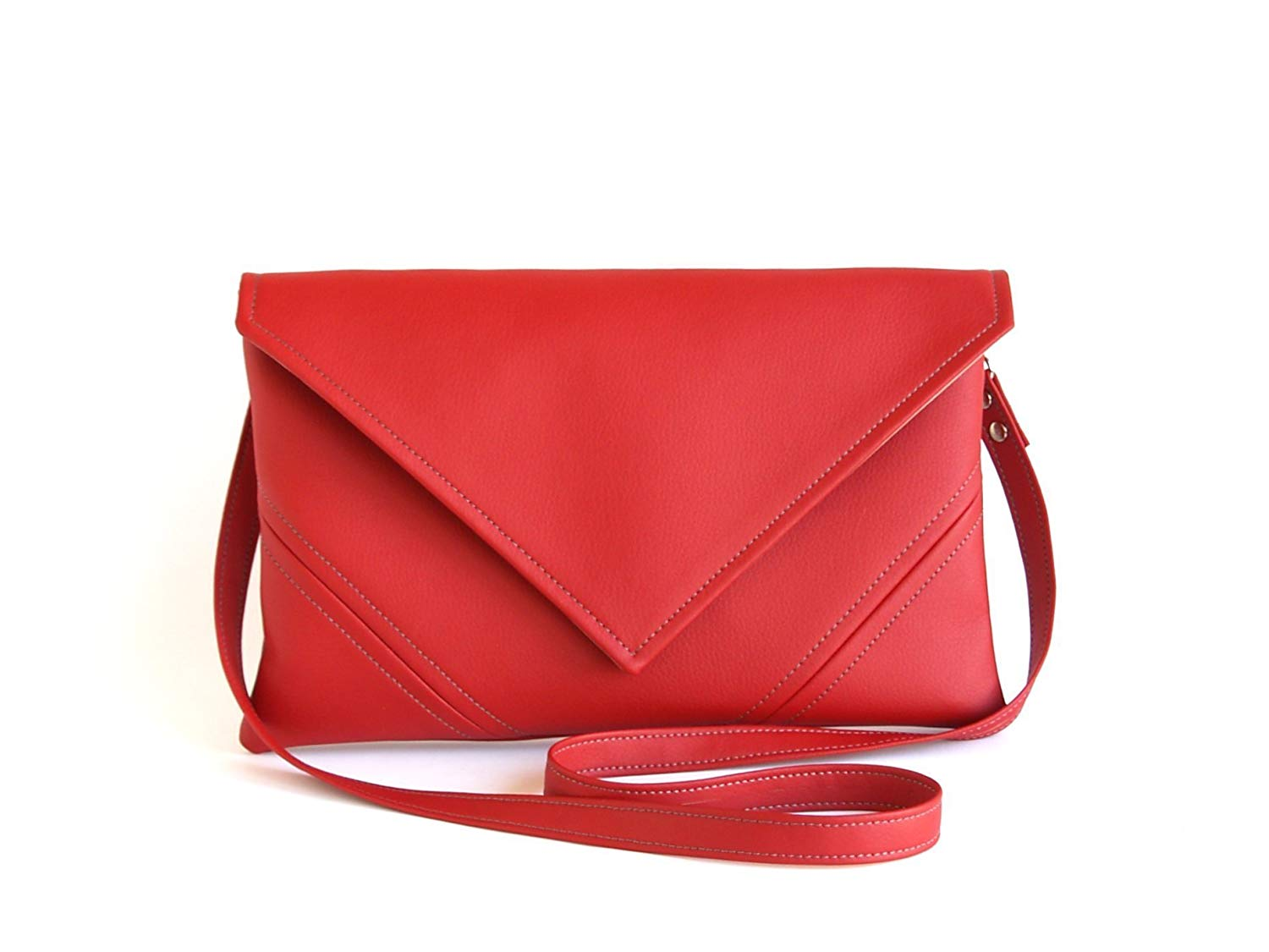 Red Clutch Bag Bridesmaid Clutch Handmade Vegan Leather Clutch Purse Gift For Her Evening Bag Vegan Purse Envelope leather Clutch Evening Clutch