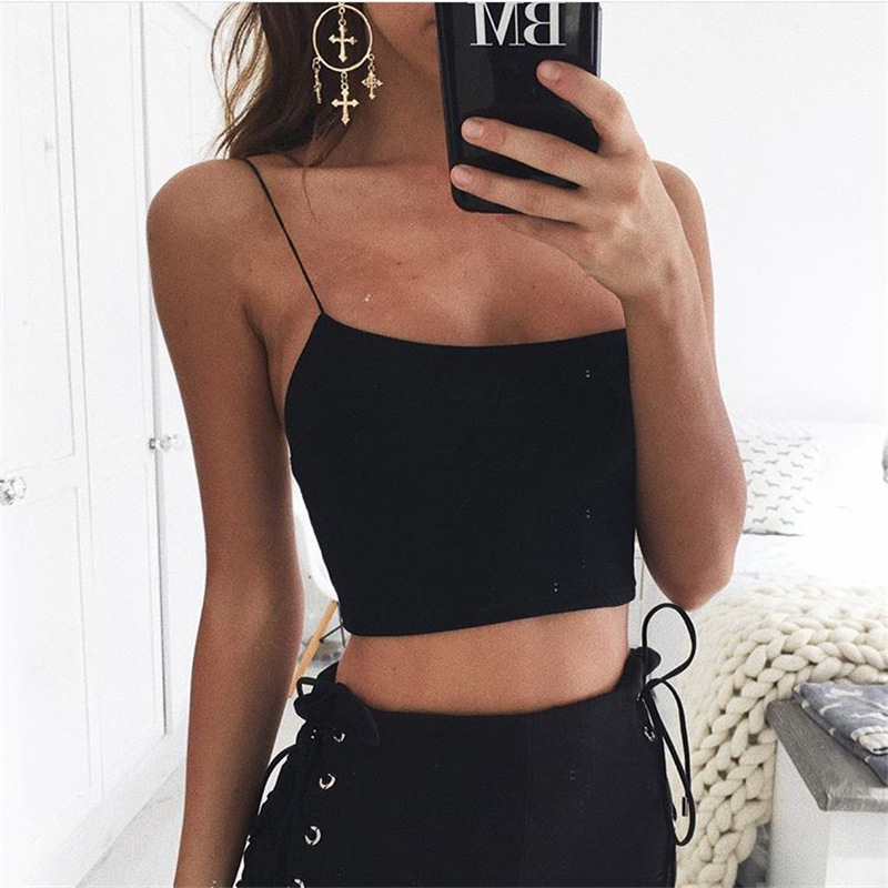 Alibaba.com / Summer Bulk Sleeveless Women Straps Solid Fitness Top Lady Casual Tank Top Sexy Female Crop Tops