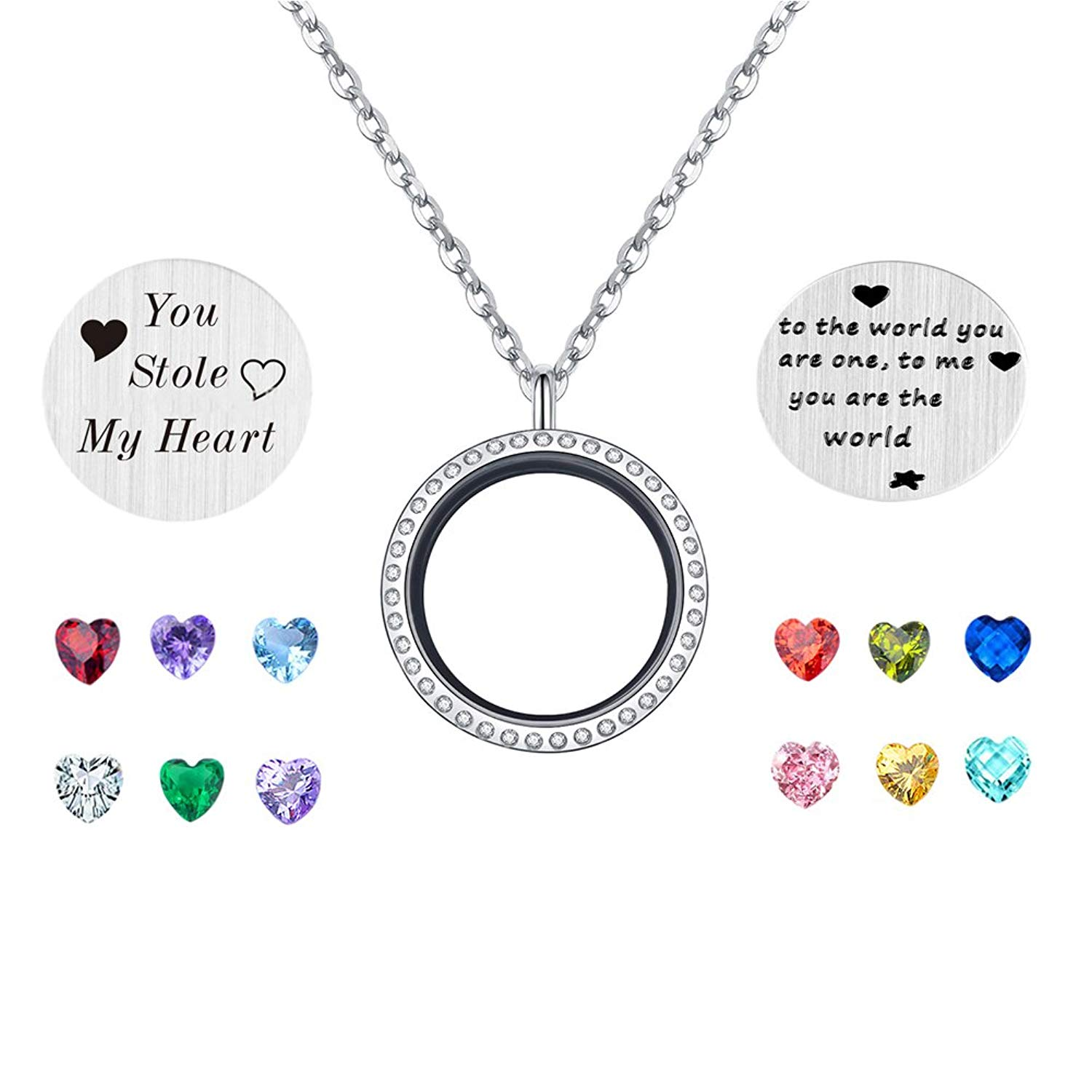 PORPI-JOJO You Stole My Heart Floating Living Memory Lockets Pendant Necklace 30mm Stainless Steel 12 Birthstone