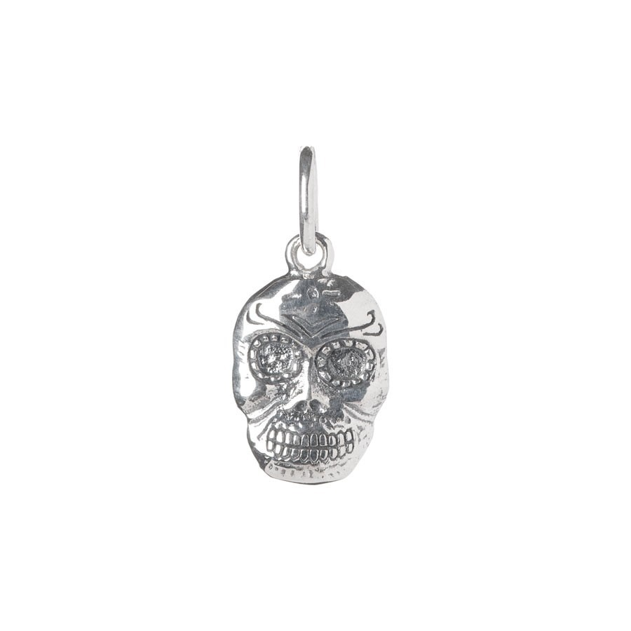 Antique Sterling Silver Skull Necklace Pendant