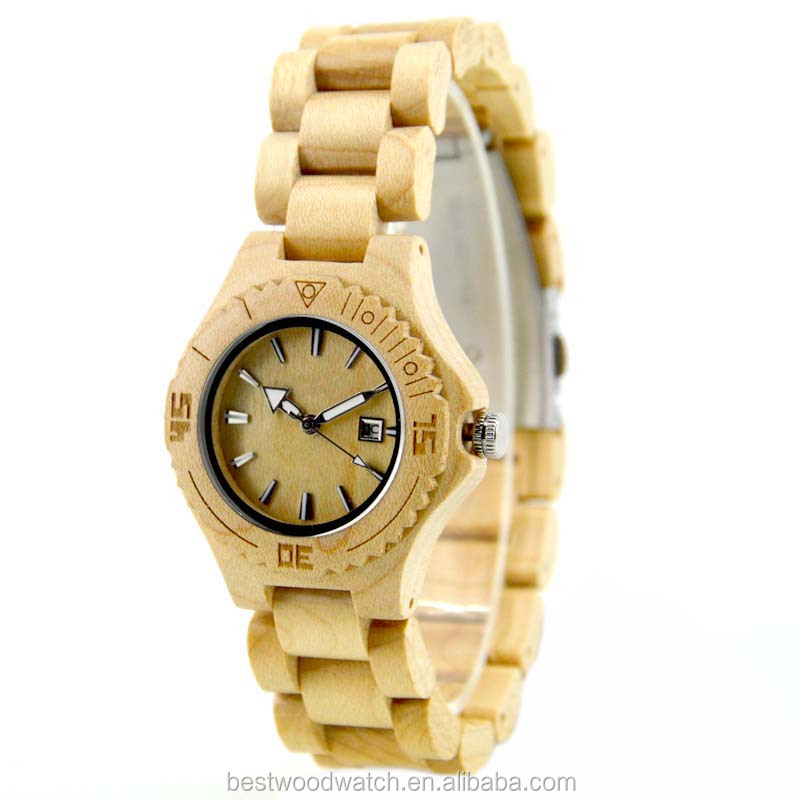 Wholesale Best Selling Products Slim Design CE Passed Quartz Maple Wood Hand Watch For Girl