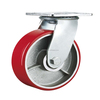 6 inch heavy duty PU trolley castor wheel with brake