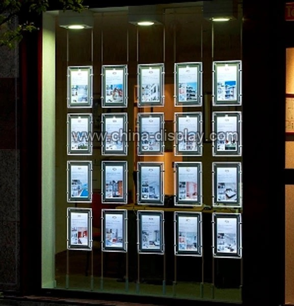 Real Estate Agents Advertising Backlit A3 A4 Acrylic Window LED Light Pockets