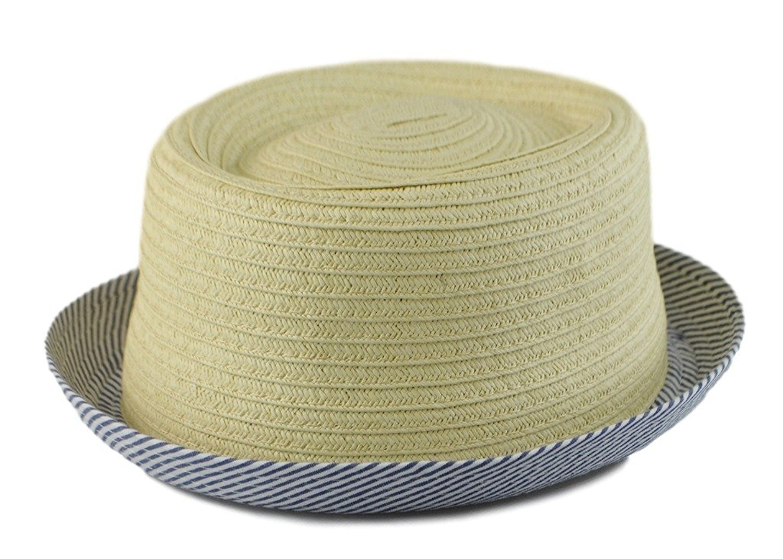8ea44401b4cfc Mens Summer Fedora Beige Pinstripe Cuban Style Upturn Short Brim Hats S M