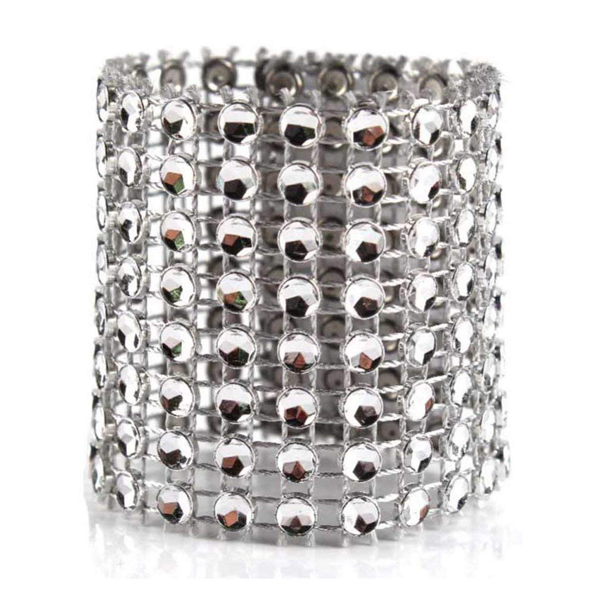 Queenbox Napkin Rings Rhinestone Napkin Rings Rhinestone Chair Adornment For Wedding Party Banquet Reception Catering(10PCS, Silver)