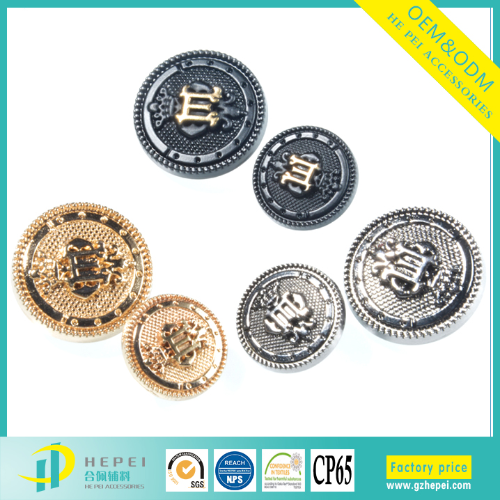 Fancy colored designer shirt metal embossed sewing buttons for jeacket