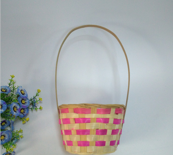 Dealer Round Weaving Storage Vegetable Handle Fruit Gift Bamboo Basket