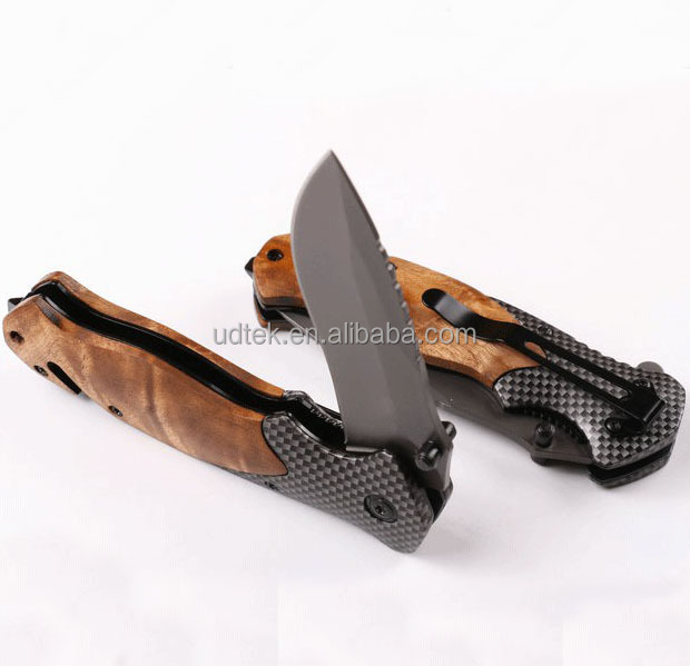 OEM Folding Knife 440C Blade Wood Handle Camping Pocket Knife