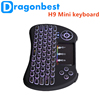 Most popular H9 Mini QWERTY Keyboard Colorful Backlight three color air mouse With Good After-sale Servi 2.4g wireless air mouse