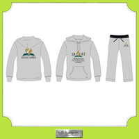 Custom high quality 100 cotton sportswear tracksuit with printed logo