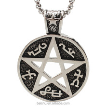 Movie Collection 316L Stainless Steel Men Pentagram Star Pendant Hollow Necklace Satan Symbol Amulet Jewelry