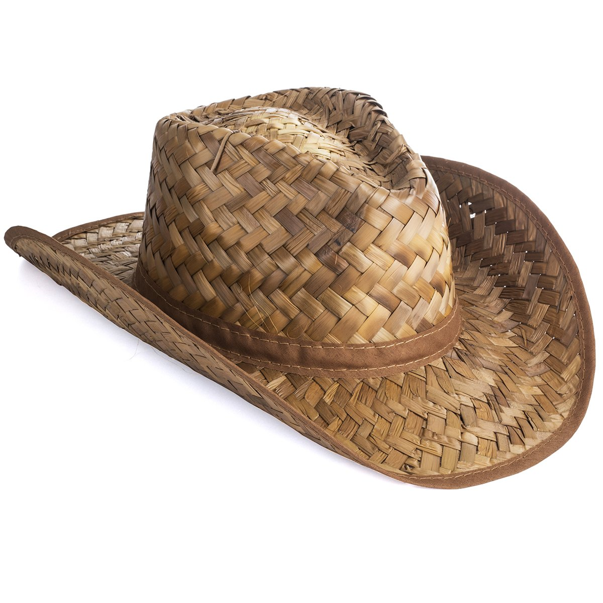 74aed285d2a Get Quotations · Tan Woven Straw Rolled Cowboy Hat by U.S. Toy