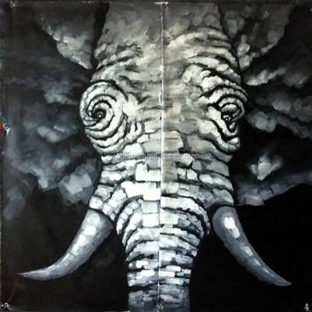 Hand Painting Painted Picture Beautiful Black White Elephant Wall Paper Modern Paintings Knife Animals Oil