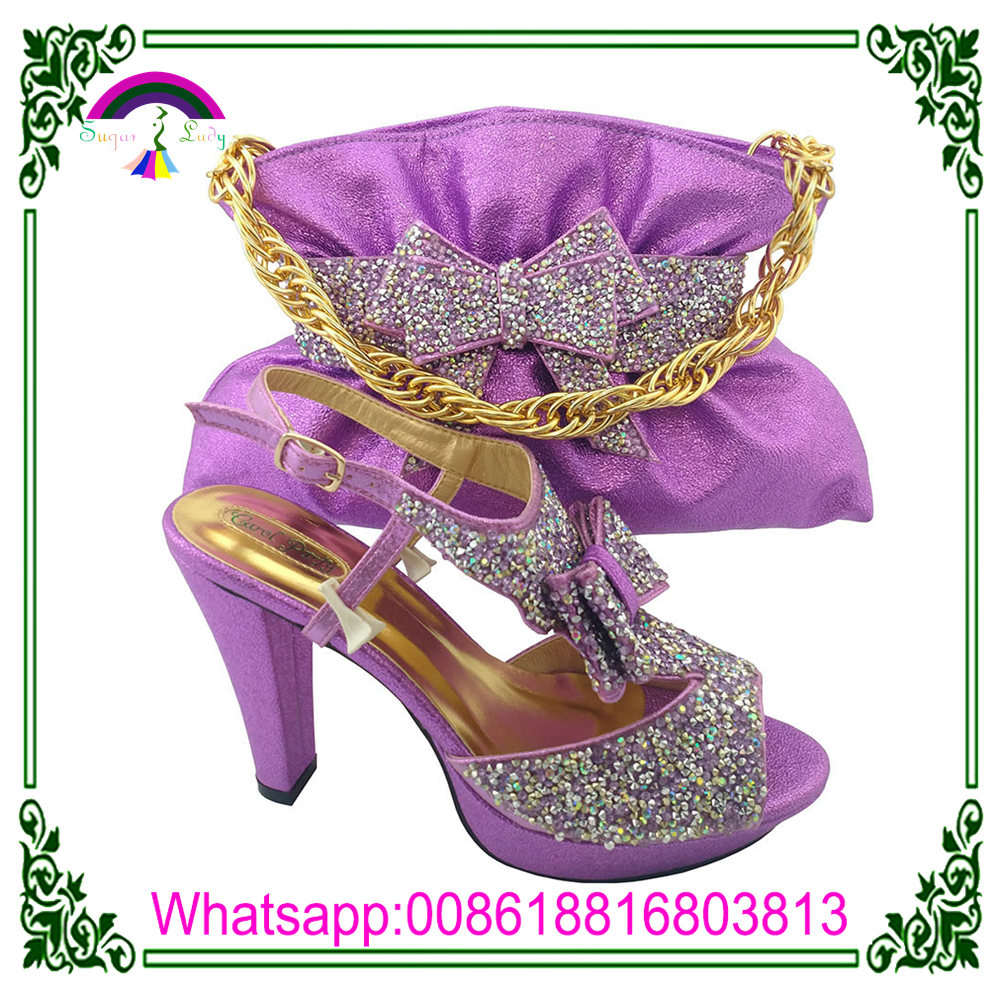 bags nigerian with and wedding high matching lilac shoes ladies heel shoes italian qqPBwC