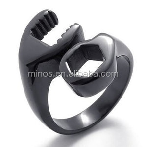 New CheapJewelry Men's Stainless Steel Biker Ring Mechanic Wrench Tool Ring, Silver