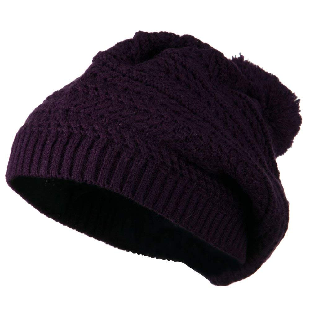 Slinky Knit Beret with Pom Pom - Purple W24S27F