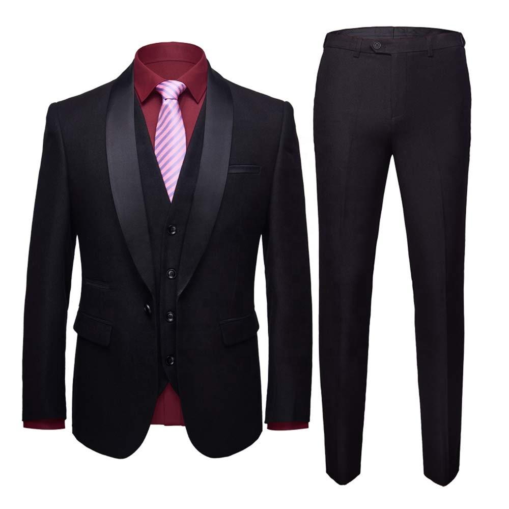 Alibaba.com / Men's Shawl Lapel 3-Pieces Suit Slim Fit One Button Dress Suit Blazer Jacket Pants Tux Vest