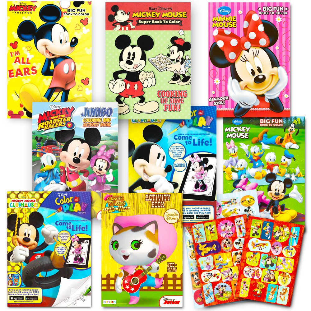 Get quotations · disney coloring books for kids toddlers bulk set 8 books and sticker pack