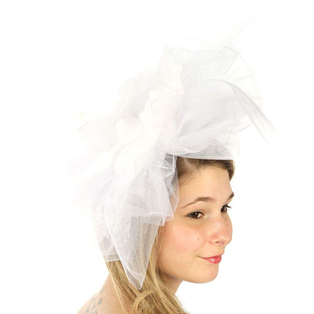9c04b81e12bbb Get Quotations · fashion2100 Feather Tulle Couture Organza Fascinator