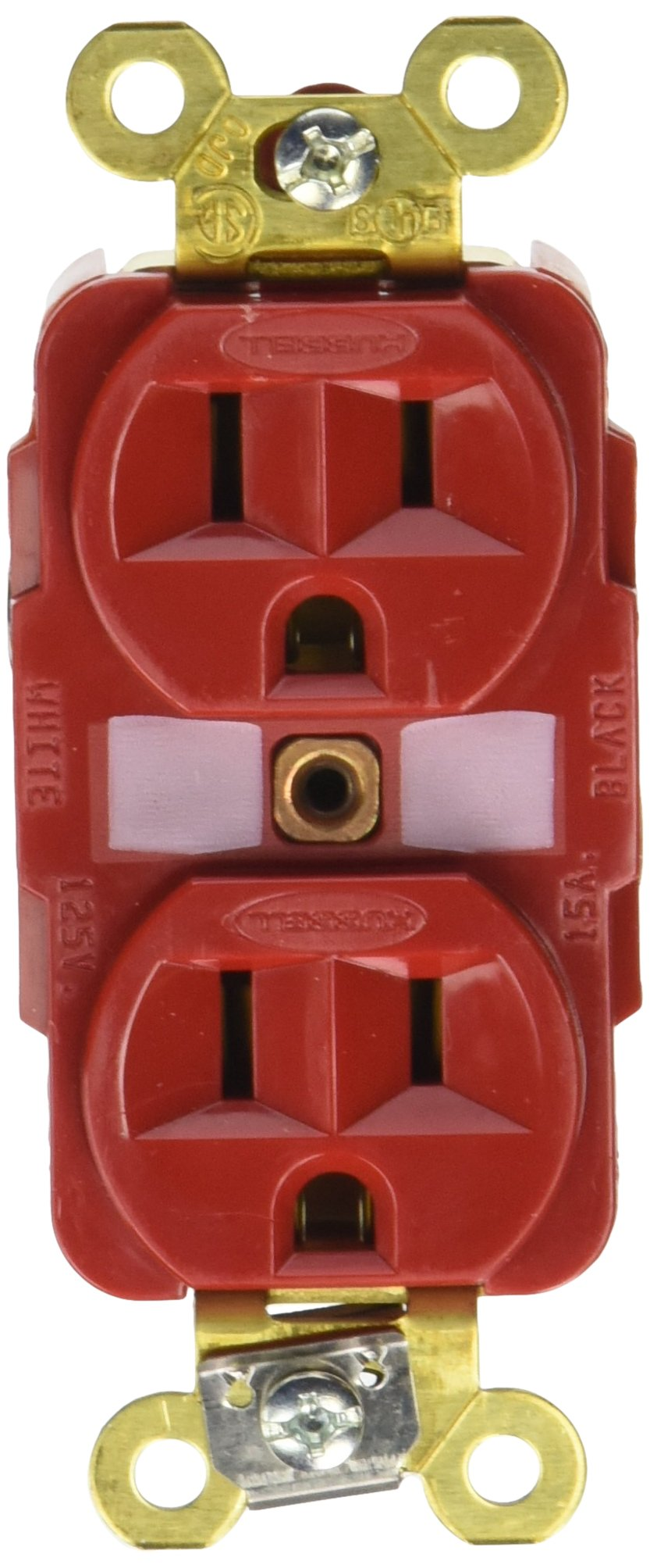 Hubbell HBL5262R Duplex Receptacle, HD Industrial Grade, 15 amp, 125V, 5-15R, Red