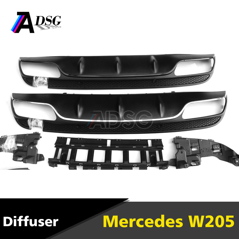 Mercedes C classs W205 C63 Look rear bumper ABS diffuser with Chrome exhaust tips for W205 with AMG LINE 2015 - 2016