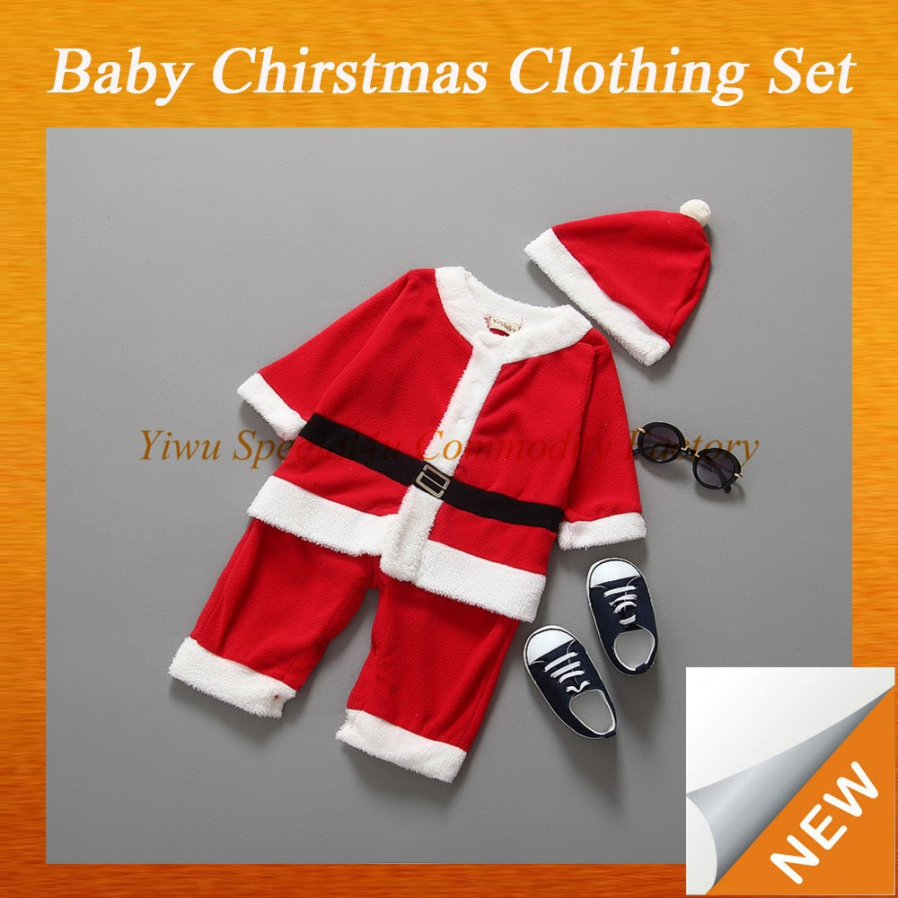2015 new christmas kids clothing set red white Santa Claus design for christmas kids clothing sets Lyd-1081