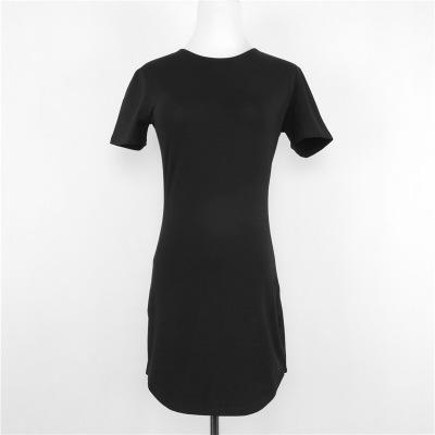 1aa9f766 Blank Design Short Sleeve O Neck T-Shirt Dress Sexy Tight Mini Women T Shirt