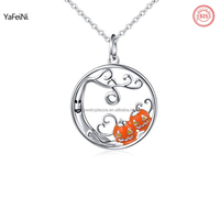 925 sterling silver jewelry wholesale halloween pumpkin necklace for girls