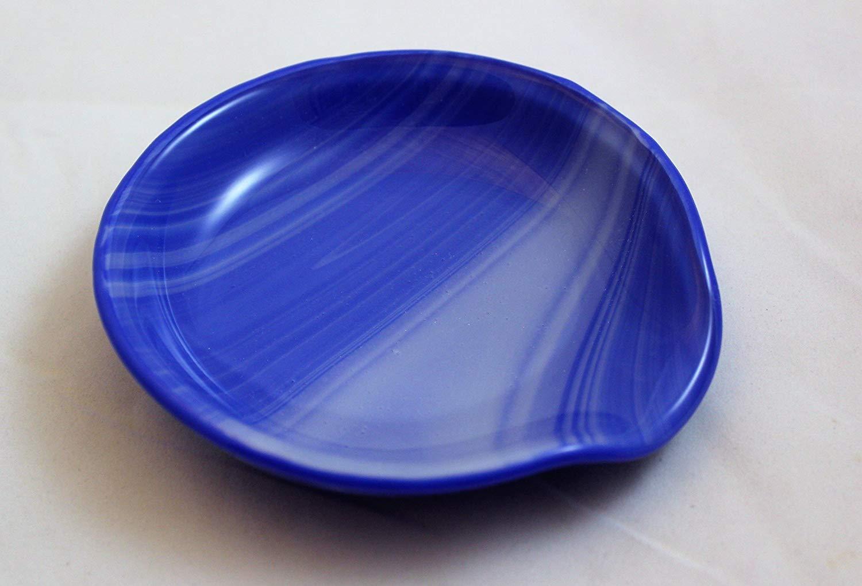 Medium Blue and White Swirl Spoon Rest, Round Fused Glass Spoon Rest, Spoon Holder, Spoon Rest, Spoonrest,