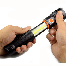 The New Multi Function XPE COB 5 W Tail Magnet Retractable Magnetic Folding Working telescope super bright led torch flashlight