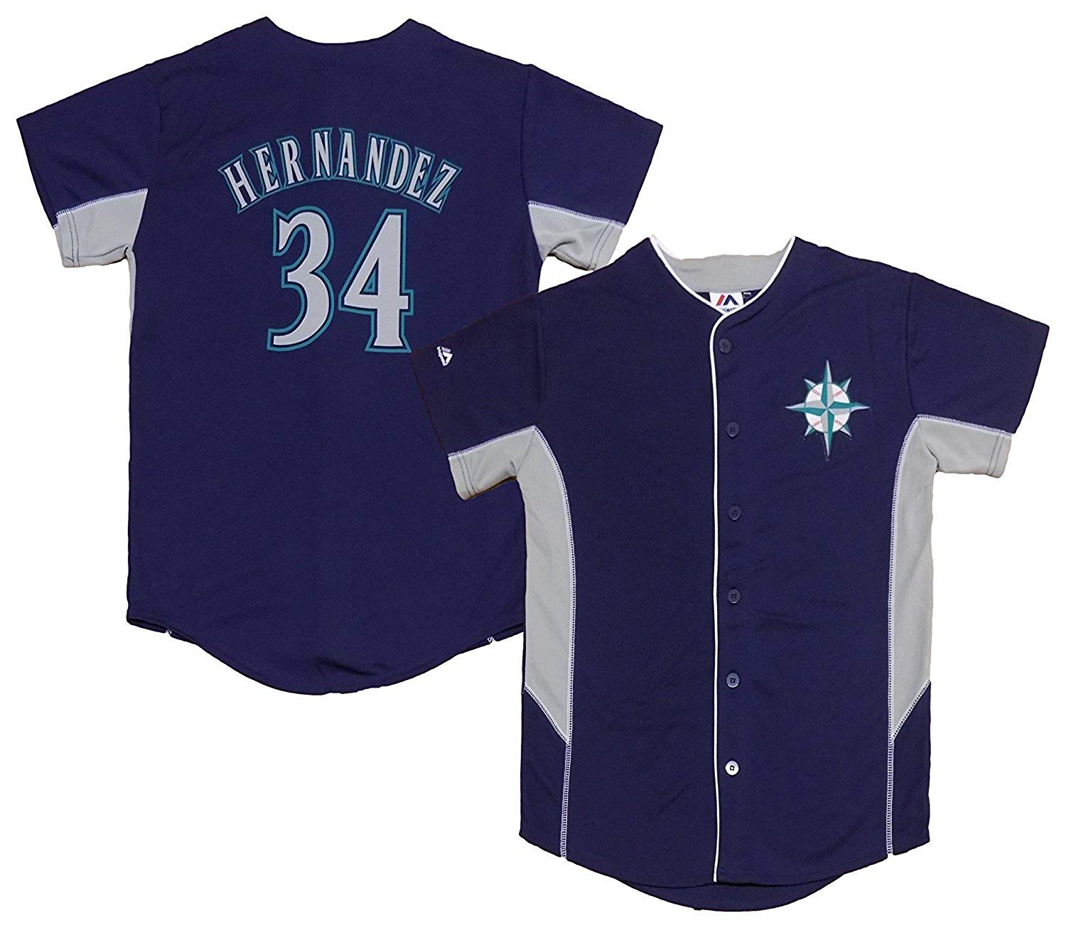Outerstuff Felix Hernandez Seattle Mariners #34 Navy Blue Kids Team Leader Jersey