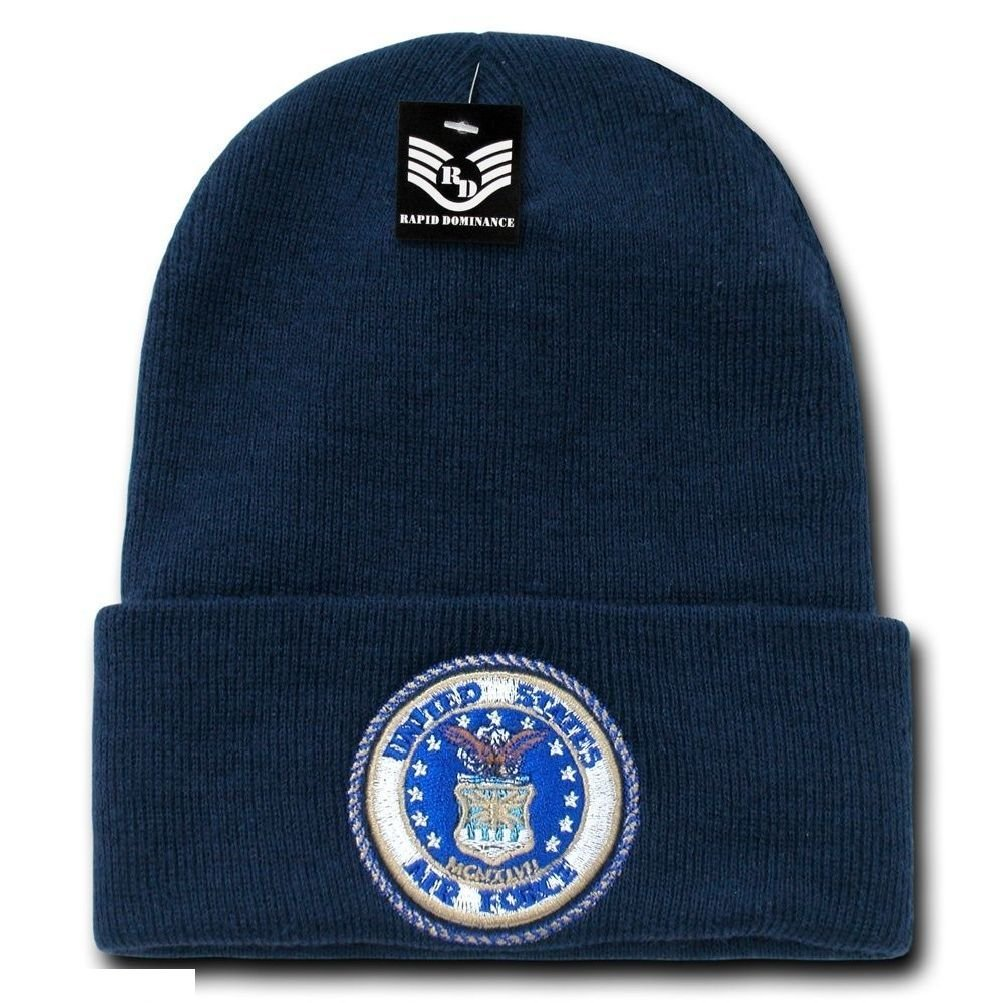 2a5e59b5 Get Quotations · United States Air Force USAF Seal Embroidered Military  Beanie Skull Knit Cap Hat