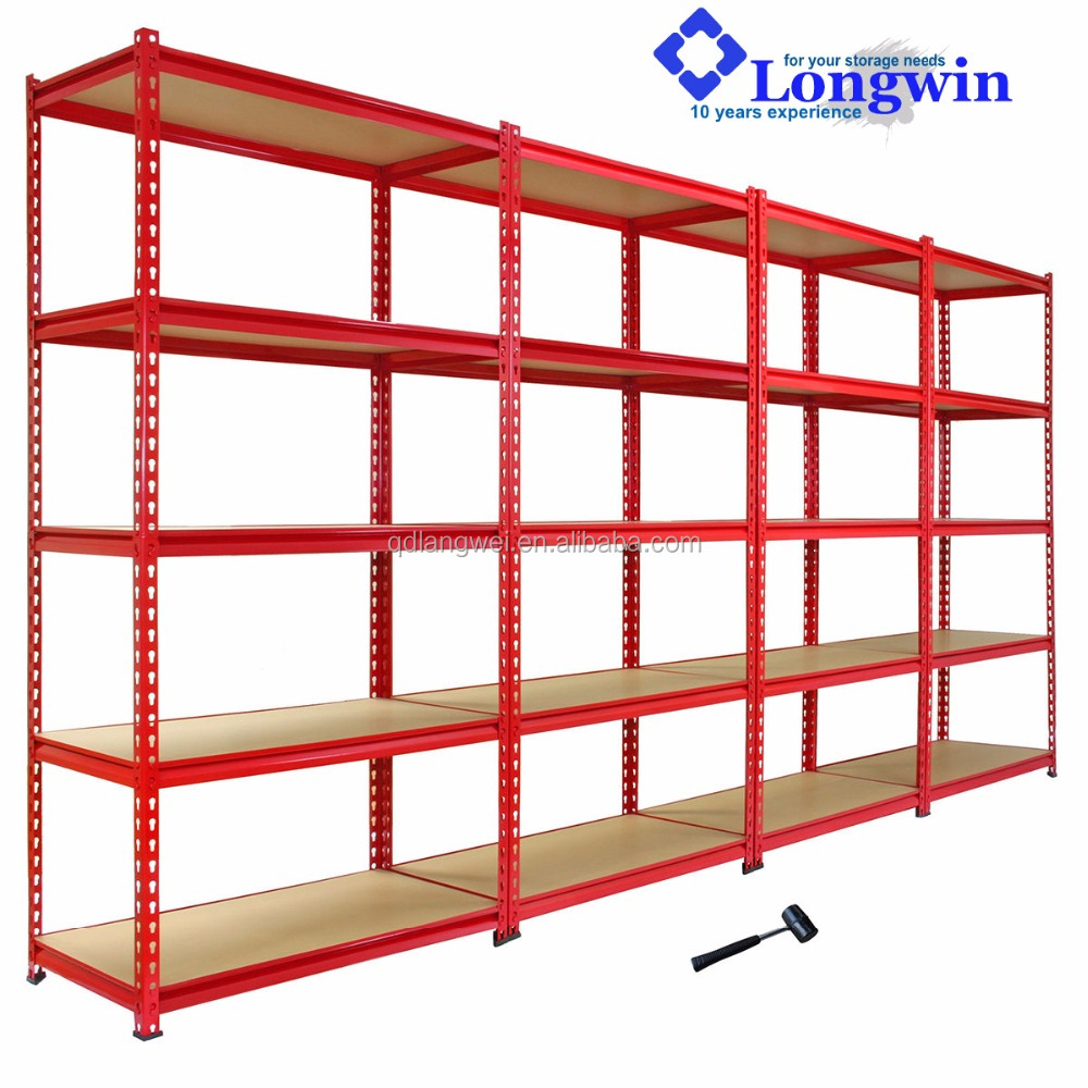 5 shelf heavy duty metal storage rack garage rivet shelving for supermarket