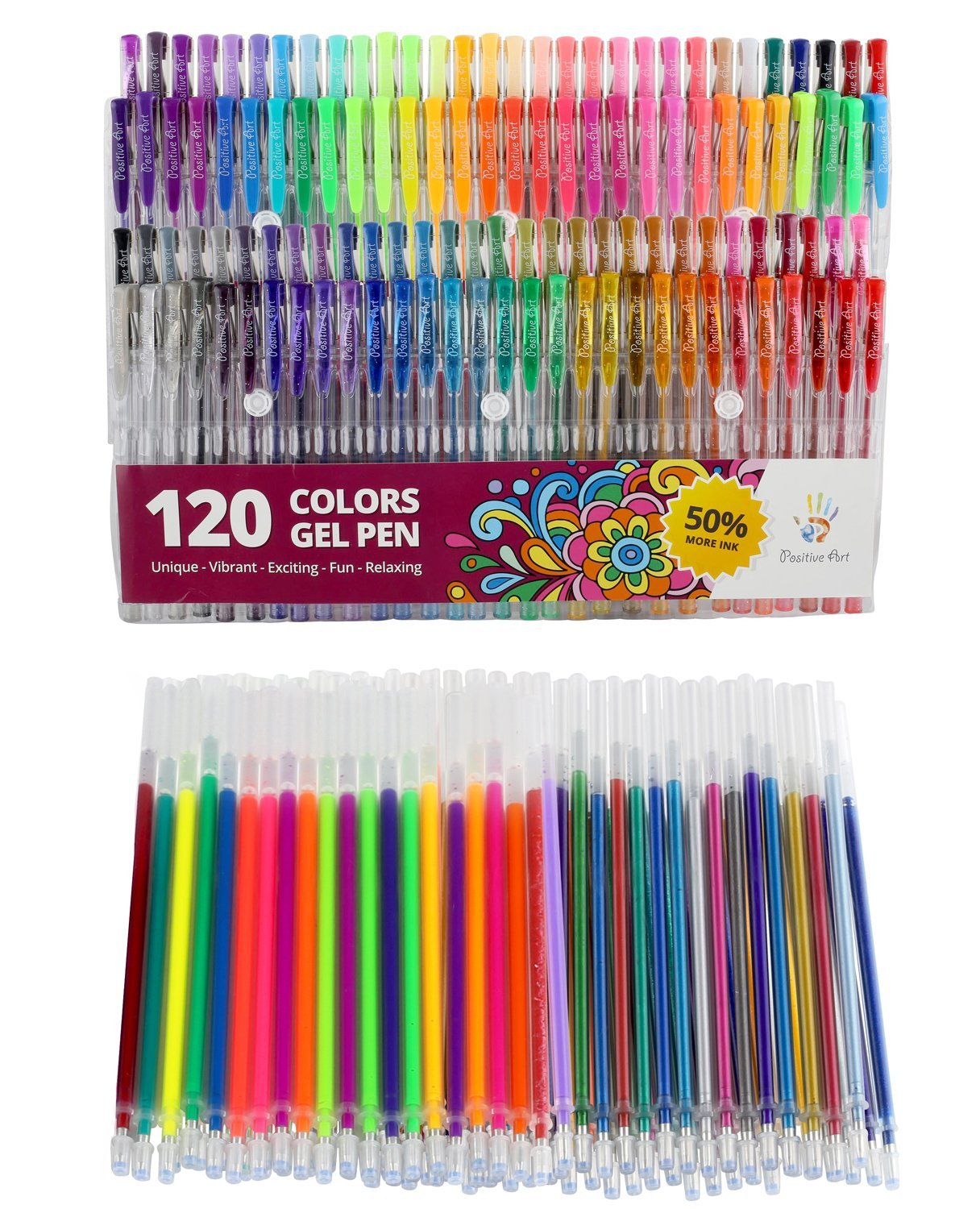 Gel Pens Set 120 Unique Colors Plus 120 Gel Pen Refills Total Of 240 Colors, For Adult Coloring Book Drawing Drawing Doodling, Glitter Metallic Pastel and More - 50% More Ink! - Excellent gift idea