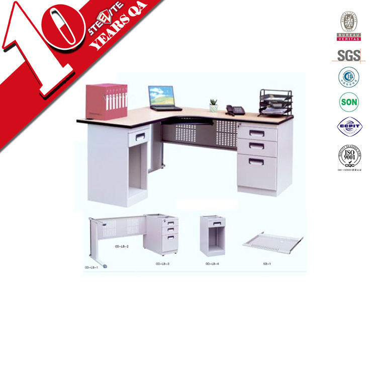 Cold Rolled Steel L Shaped Office Desk / White High Gloss Office Desk