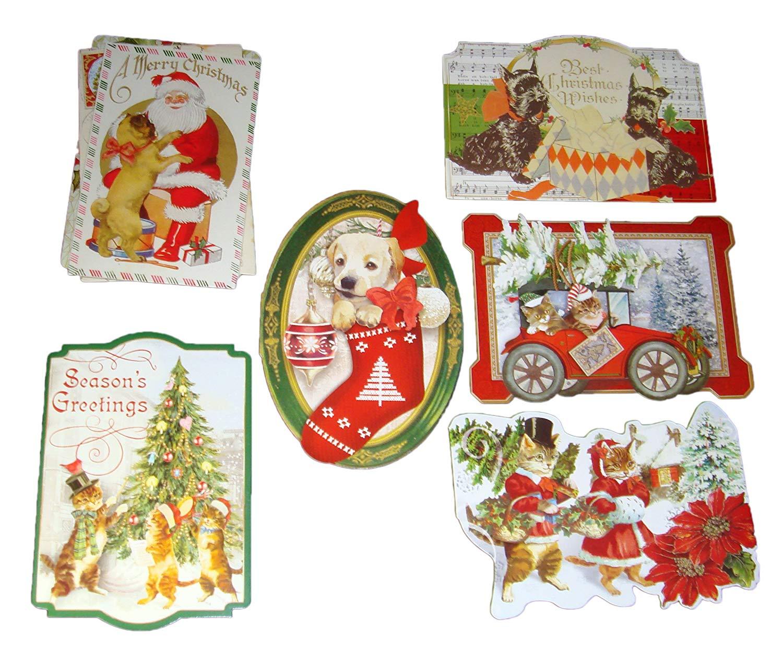 punch studio 6 die cut christmas note cards envelopes antique ephemera vintage puppies kittens 60862 35 x 5