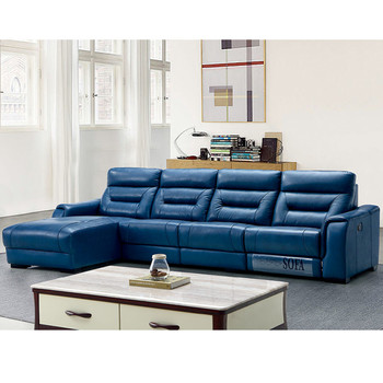 Hot Modern Cozy Functional Blue Italy Leather Recliner Sectional Electric Sofa