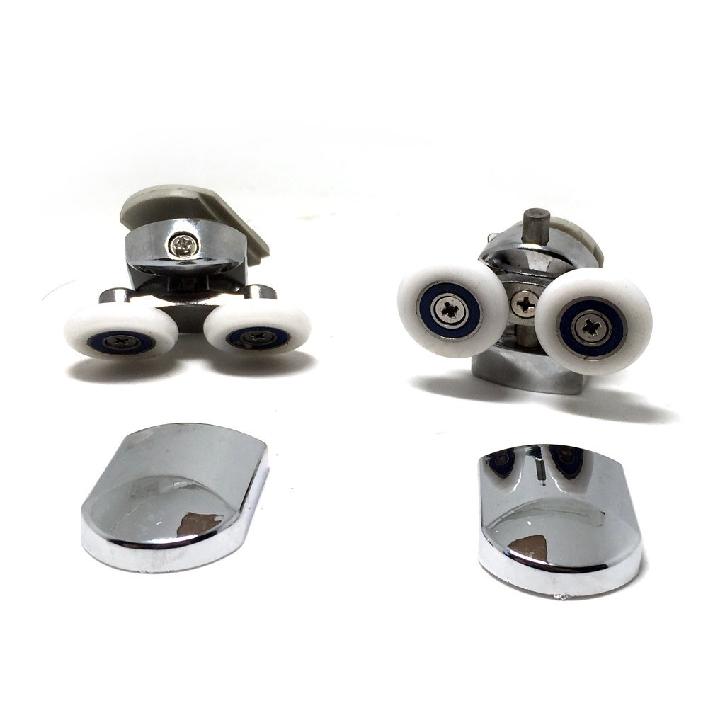 8pcs Replacement Shower Door Fixing Wheels in Chrome - 4x Top & 4x Bottom - Fits Glass 4-6mm