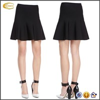 Ecoach Wholesale OEM Fashion Women High Banded Waist Ruffle Hem Mini Skirt A-Line Silhouette Pull-on Style Black Skirts for Girl