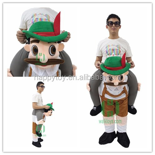 New arrival! HI Halloween bear man Stuffed surprise Ride On Me Stag Mascot Piggy Back Fancy Dress Costume