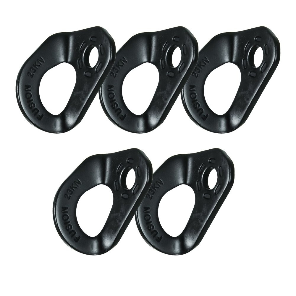Fusion Climb Cabal Military Tactical Edition 12mm Zinc Plated Steel Climbing Anchor Hanger (5 Pack), Black