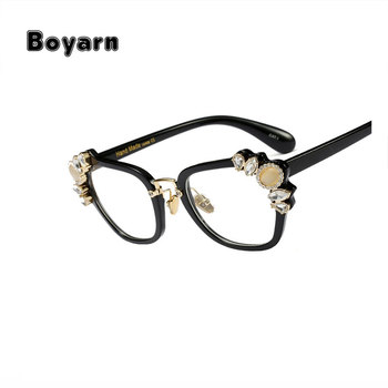a789f1437cb Boyarn Transparent Eyeglasses Frames Women Cat Eye Glasses Frame Luxury  crystal Rhinestone Clear Lens Vintage Eyeglass