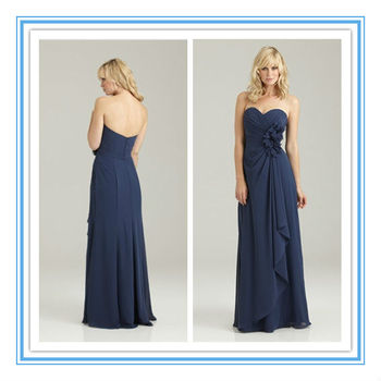 Floor Length Sweetheart Neckline Ruched Chiffon Navy Blue Plus Size
