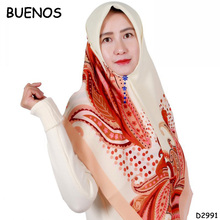 2018 New College Flower Print Muslim Headscarf French Cotton Square Ladies Wholesale Turkish Hijab