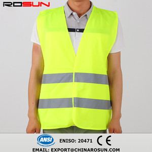 lime green fluorescent solid fabric high visibility vest 3M reflective tape safety vest
