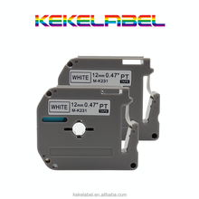 Compatible 12mm Black on White M K Tape ribbon Cartridge for brother P-touch Typewriter MK231 M-k231